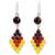 Carnelian and garnet dangle earrings, 'Seasonal Bloom' - Thai Carnelian and Yellow Quartz Earrings with Garnet (image 2a) thumbail
