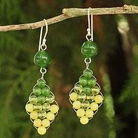 Quartz and peridot dangle earrings, 'Seasonal Bloom' - Thai Quartz and Peridot Earrings