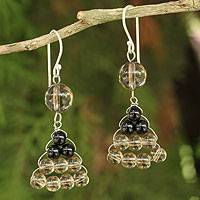 Smoky quartz and onyx dangle earrings, 'Falling Leaves' - Hand Crafted Thai Smoky Quartz and Onyx Dangle Earrings
