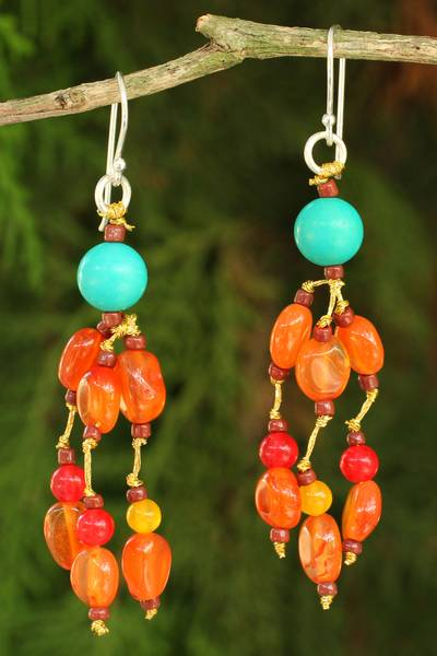 Carnelian waterfall earrings, 'Sun Shower' - Carnelian and Calcite Handmade Waterfall Earrings