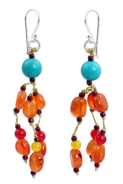 Carnelian and Calcite Handmade Waterfall Earrings