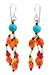 Carnelian waterfall earrings, 'Sun Shower' - Carnelian and Calcite Handmade Waterfall Earrings (image 2a) thumbail