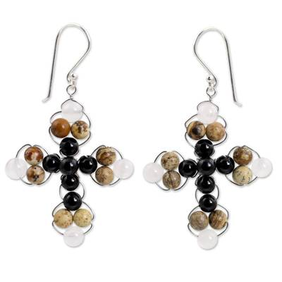 Thai Jasper and Onyx Beaded Cross Earrings