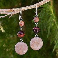 Jasper and tiger's eye dangle earrings, 'Polished Petals' - Unique Thai Jasper and Tiger's Eye Earrings