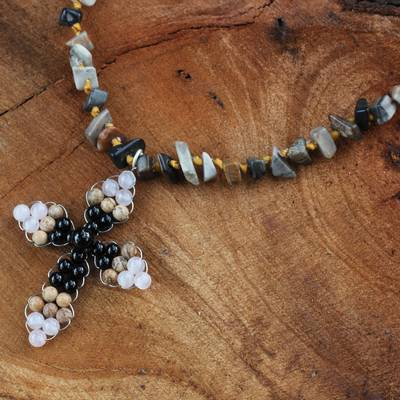 Jasper and quartz pendant necklace, 'Precious Cross' - Thai Quartz and Jasper Beaded Cross Necklace