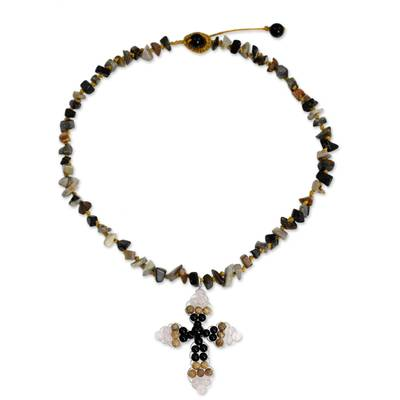 Thai Onyx and Jasper Beaded Cross Necklace