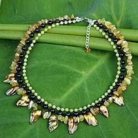 Cultured pearl and serpentine beaded necklace, 'Glow' (Thailand)