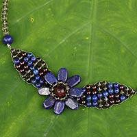 Smoky quartz and lapis lazuli pendant necklace, 'Floral Solitaire' - Beaded Smoky Quartz and Lapis Lazuli Flower Necklace