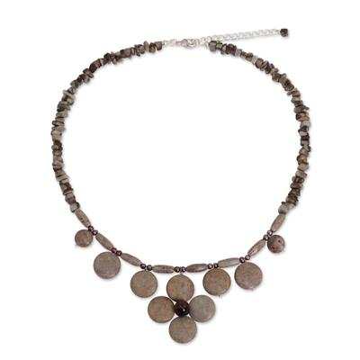Unique Thai Pearl and Jasper Necklace