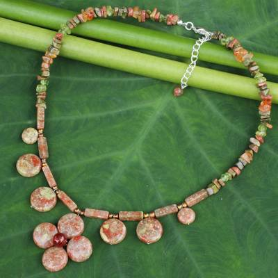 Jasper and unakite pendant necklace, 'Polished Petals' - Unique Thai Pearl and Jasper Necklace with Unakite