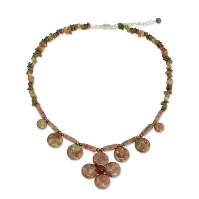 Unique Thai Pearl and Jasper Necklace with Unakite