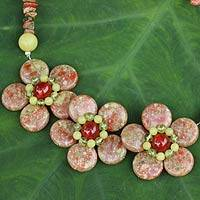 Peridot and jasper flower necklace, 'Blossom Trio' - Hand Made Thai Gemstone Flower Necklace