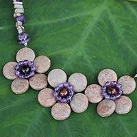Amethyst and jasper flower necklace,