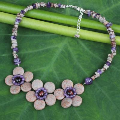 Amethyst and jasper flower necklace, 'Blossom Trio' - Amethyst and Jasper Thai Flora Necklace