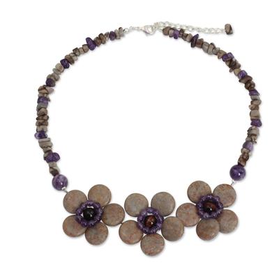 Amethyst and Jasper Thai Flora Necklace