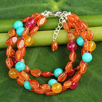 Carnelian beaded bracelet, 'Sun Shower' - Carnelian Three Strand Bracelet