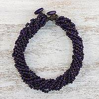 Wood torsade necklace, 'Nan Belle' - Lilac Torsade Necklace Wood Beaded Jewelry