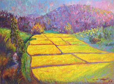 'Golden Fields' - Thai Oil on Canvas Impressionist Landscape Painting