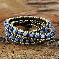 Sodalite wrap bracelet, 'Happiness' - Hand Knotted Thai Sodalite Bracelet with Brass Beads