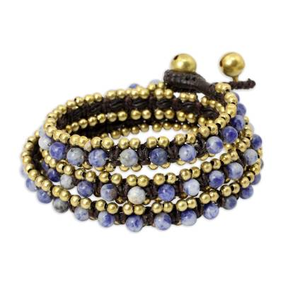 Hand Knotted Thai Sodalite Bracelet with Brass Beads