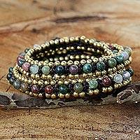 Agate wrap bracelet, 'Happiness' - Hand Knotted Thai Agate Bracelet with Brass Beads