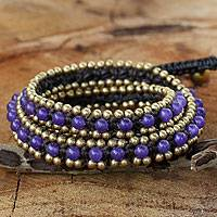 Quartz wrap bracelet, 'Violet Happiness' - Hand Knotted Thai Purple Quartz Bracelet with Brass Beads