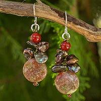 Cultured pearl and jasper beaded earrings, 'Exotic Muse' - Brown Pearl Jasper and Carnelian Beaded Earrings