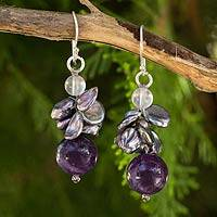 Cultured pearl and amethyst beaded earrings, 'Exotic Muse' - Gray Pearl and Amethyst Beaded Earrings
