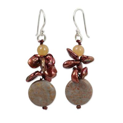 Red Pearl Jasper and Carnelian Beaded Earrings