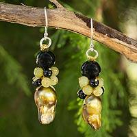 Cultured pearl and onyx beaded earrings, 'Bold Gold' - Artisan Crafted Earrings Beaded Jewelry