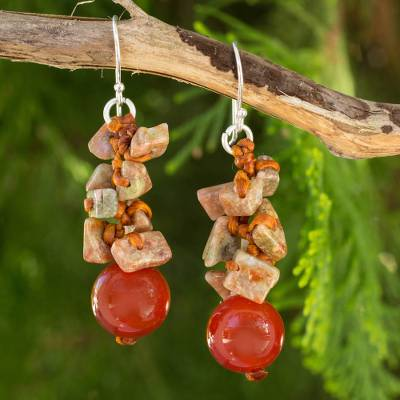 Carnelian beaded earrings, 'Orange Glam' - Fair Trade Handcrafted Gemstone Beaded Earrings