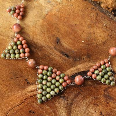 Unakite pendant necklace, 'Pretty Pyramid' - Hand Crafted Thai Unakite Necklace
