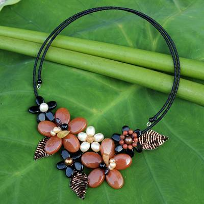 Cultured pearl and onyx flower choker, 'Ginger Bouquet' - Fair Trade Floral Pearl and Onyx Choker