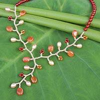 Cultured pearl and carnelian Y necklace, 'Coral' - Handcrafted Pearl and Carnelian Beaded Y Necklace