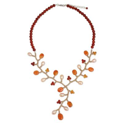 Handcrafted Pearl and Carnelian Beaded Y Necklace
