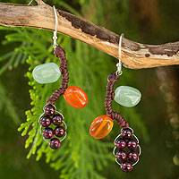 Garnet and carnelian dangle earrings, 'Bright Ivy' - Thai Handcrafted Gemstone Earrings
