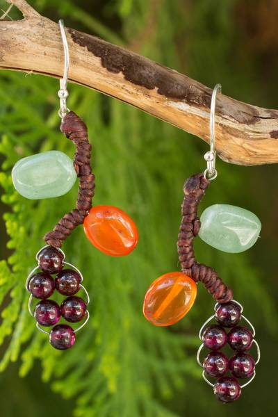Garnet and carnelian dangle earrings, Bright Ivy