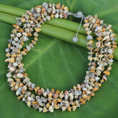 Jasper beaded necklace, 'Yellow Gray Flow' - Enhanced Jasper Torsade Necklace Artisan Crafted Jewelry