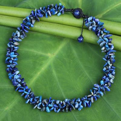 Lapis lazuli beaded necklace, 'Azure Flow' - Fair Trade Handcrafted Lapis Lazuli Beaded Necklace