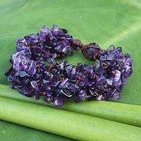 Amethyst beaded bracelet, 'Lilac Flow' - Handcrafted Amethyst Beaded Bracelet