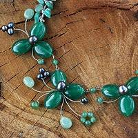 Multi-gemstone flower necklace, Verdant Feast