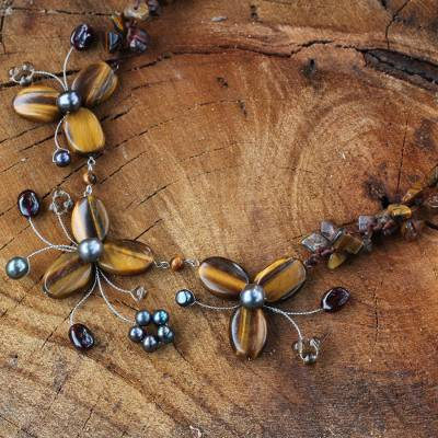 Cultured pearl and tiger's eye flower necklace, 'Golden Feast' - Handmade Thai Pearl and Tiger's Eye Necklace