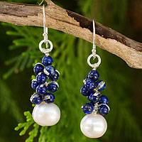 Lapis lazuli and cultured pearl cluster earrings, Blue Sonata