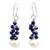Lapis lazuli and cultured pearl cluster earrings, 'Blue Sonata' - Handmade Cultured Pearl and Lapis Lazuli Cluster Earrings (image 2a) thumbail