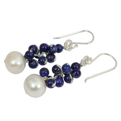 Lapis lazuli and cultured pearl cluster earrings, 'Blue Sonata' - Handmade Cultured Pearl and Lapis Lazuli Cluster Earrings