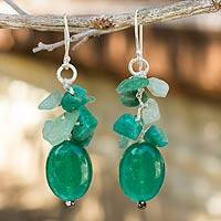 Quartz and amazonite cluster earrings, Verdant Feast - Handmade Thai Quartz and Amazonite Cluster Earrings