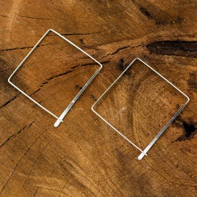 Sterling silver hoop earrings, 'Minimalist Square' - Artisan Crafted Sterling Silver Earrings
