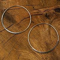Sterling silver hoop earrings, 'Minimalist Cycle' - Artisan Crafted Sterling Silver Hoop Earrings