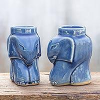 Celadon ceramic candleholders Cozy Sapphire Elephants pair Thailand