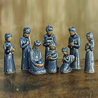 Celadon ceramic nativity scene, 'Thai Holy Birth in Blue' (set of 8)